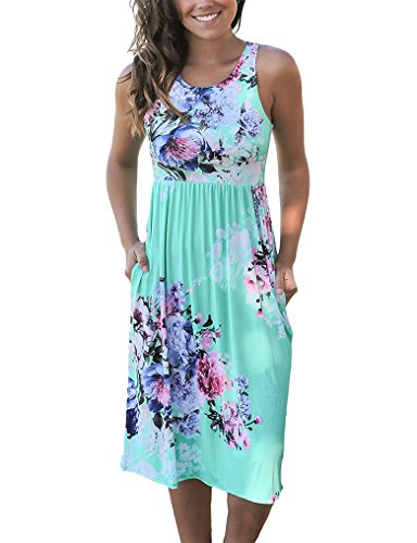 dc2bae85964ab Welcome!ours womens summer casual sleeveless Floral Print Midi Dresses