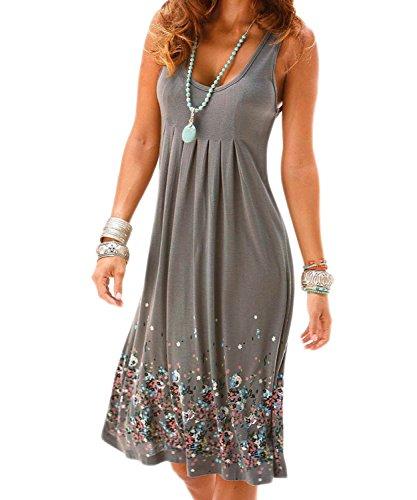 302d3eeb5176 AELSON Womens Summer Casual Sleeveless Mini Printed Vest Dresses ,Grey,Large